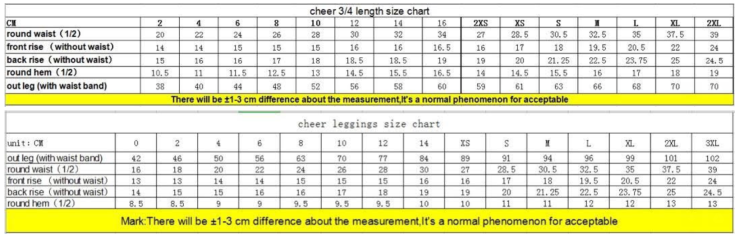 Sizing Charts 2019 Line - 34 & Full Length Pants